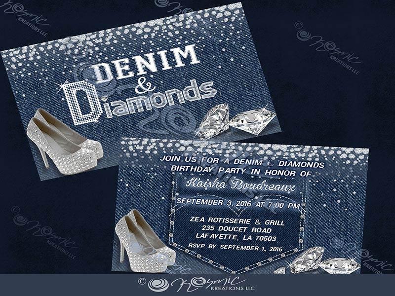 Kosmickreationsllc Denim Amp Diamonds Invite